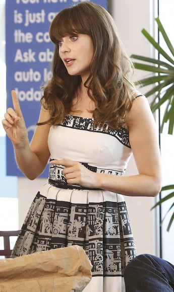 Jess's black and white printed dress on New Girl