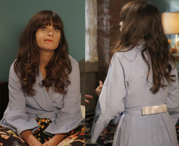 Jessica Day's blue bow bathrobe on New Girl