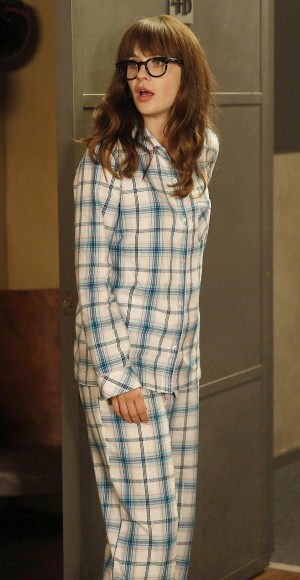 Jess's blue plaid PJs on New Girl