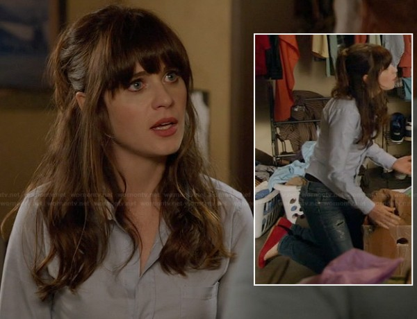 Jess's blue shirt with white collar and red flats on New Girl