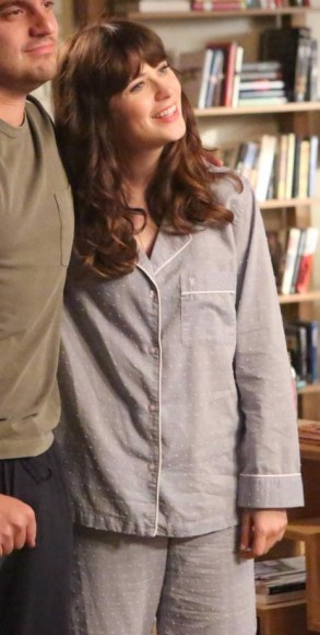 Jess Day's grey pajamas with white polka dots on New Girl