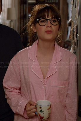 Jess's pink pajamas with white dots on New Girl