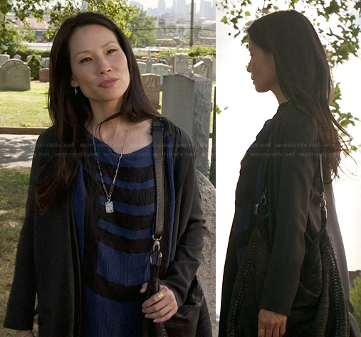 Joan's blue and black striped tee dress on Elementary