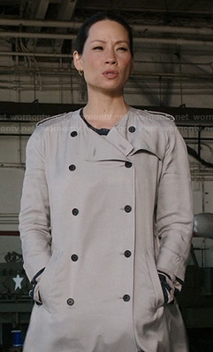 Joan's collarless trench coat on Elementary