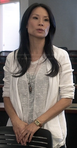Joan's white burnout tee on Elementary