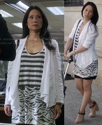 Joan's zebra stripe tank dress on Elementary