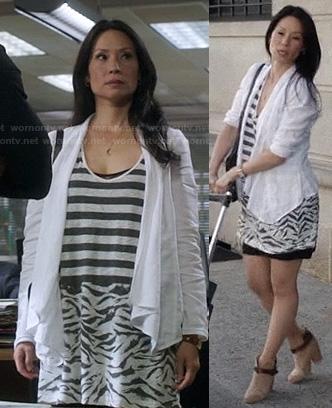 Joan's striped and zebra mixed print dress on Elementary
