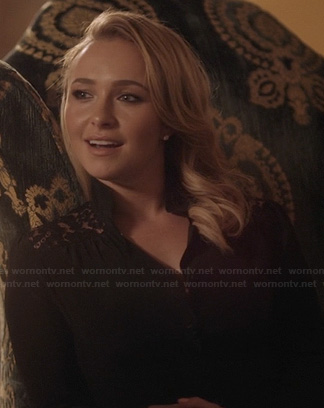 Juliette's black lace shoulder blouse on Nashville