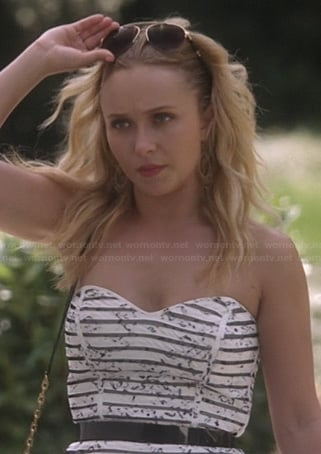 Juliette's black and white striped strapless dress on Nashville