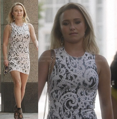 Juliette's white printed bodycon dress on Nashville
