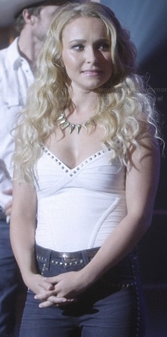 Juliette's white studded bandage top and studded jeans on Nashville
