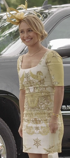 Juliette's yellow graphic printed dress at the polo match on Nashville