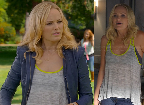 Kate's grey tank top with neon trim and blue leather jacket on Trophy Wife