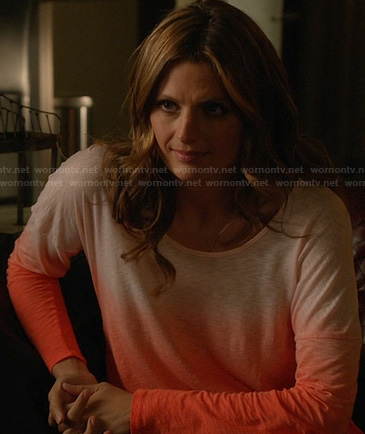 Kate's orange long sleeved ombre tee on Castle