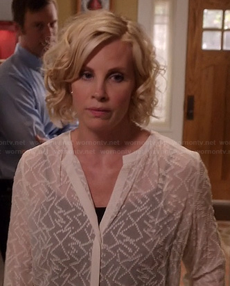 Kristen's sheer white embroidered blouse on Parenthood