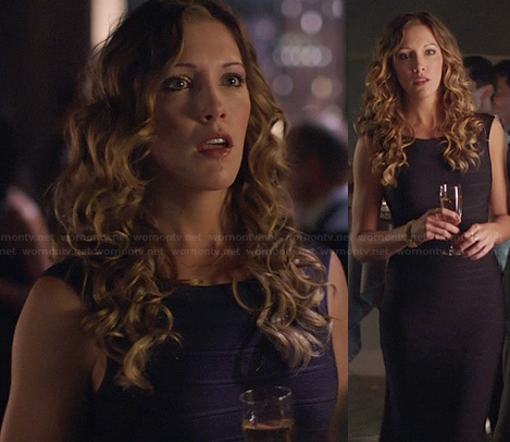 Laurel's navy bandage dress on Arrow