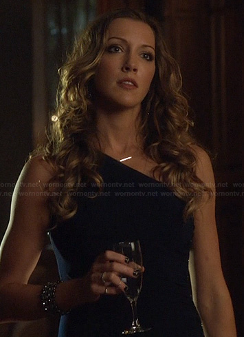 Laurel's black one-shoulder gown on Arrow