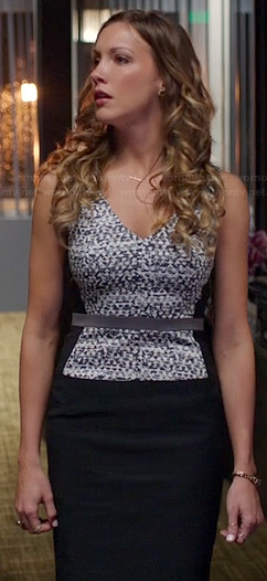 Laurel's black and white printed v-neck dress on Arrow