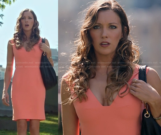 Laurel's peach orange v-neck dress on Arrow
