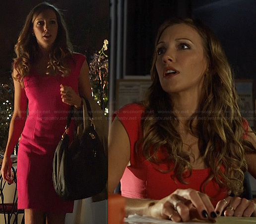 Laurel's pink cap sleeved dress on Arrow