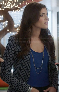 Lauren's navy geometric patterned blazer on The Crazy Ones