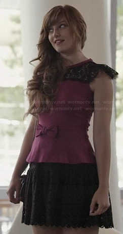 Layla's purple and black lace bow front dress on Nashville