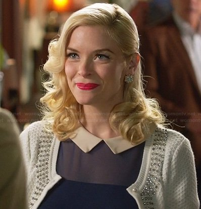 Lemon's blue mesh dress with white collar and beaded cardigan on Hart of Dixie