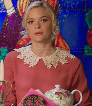 Lemon's pink blouse with white crochet collar on Hart of Dixie
