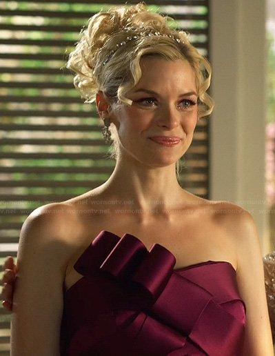 Lemon's purple strapless bow front gown on Hart of Dixie