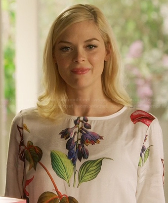 Lemon's white floral and leaf print shift dress on Hart of Dixie
