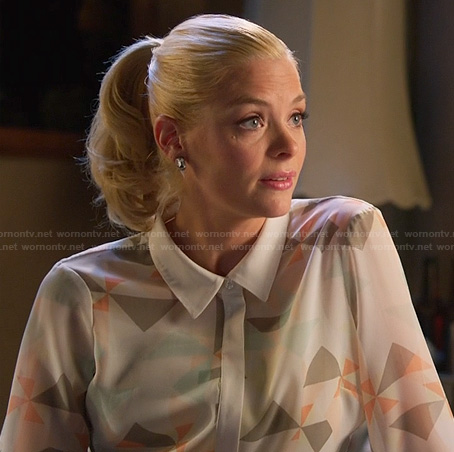 Lemon's white geometric print shirt on Hart of Dixie