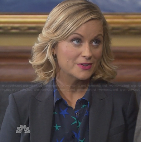 Leslie's navy blue and green star print blouse on Parks & Rec