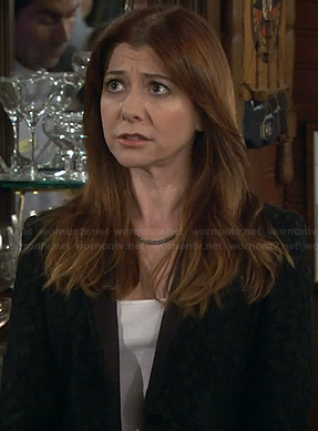 Lily's black jacquard patterned blazer on HIMYM