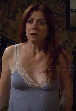Lily's blue lace trim PJs on HIMYM