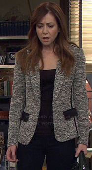 Lily's grey tweed jacket with black pockets on How I Met Your Mother