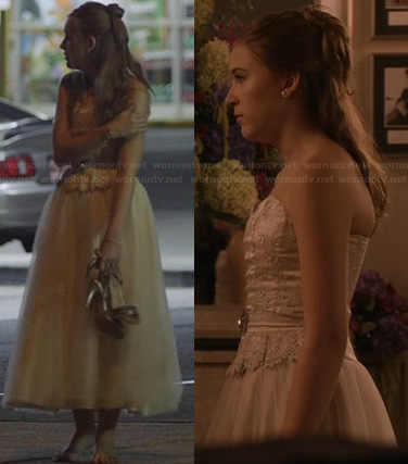Maddie's cream tea length gown on Nashville