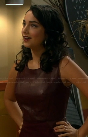 Mandy's burgundy leather dress on Last Man Standing