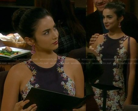 Mandy's black floral print dress on Last Man Standing
