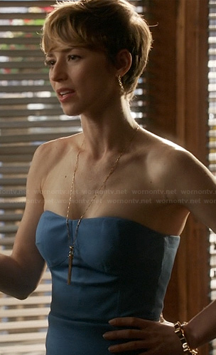 Margaux's blue strapless dress on Revenge