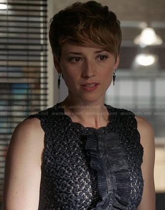 Margaux's black ruffled dress on Revenge
