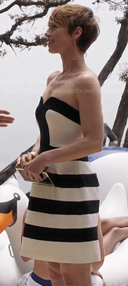 Margaux's black and white striped strapless dress on Revenge