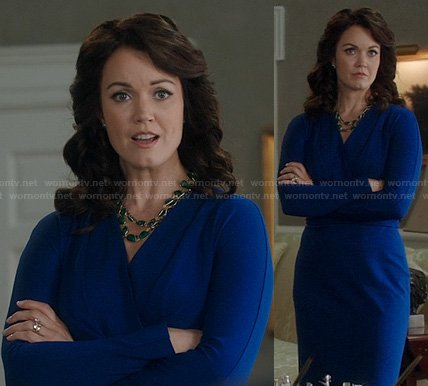 Mellie's blue long sleeved wrap dress on Scandal