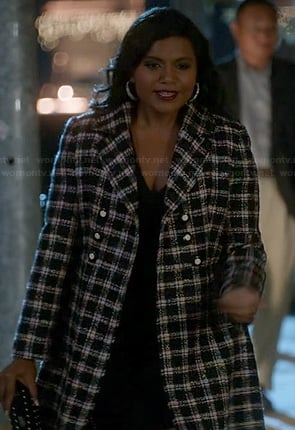 Mindy's black and white check tweed coat on The Mindy Project