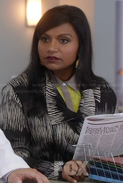 Mindy's black and white patterned jacket on The Mindy Project