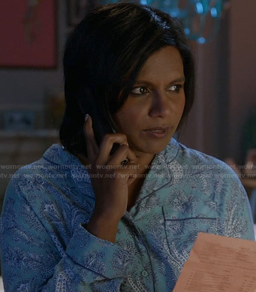 Mindy's blue paisley pajamas on The Mindy Project