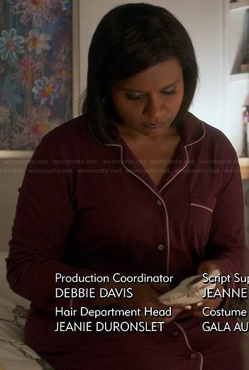 Mindy's burgundy PJs on The Mindy Project