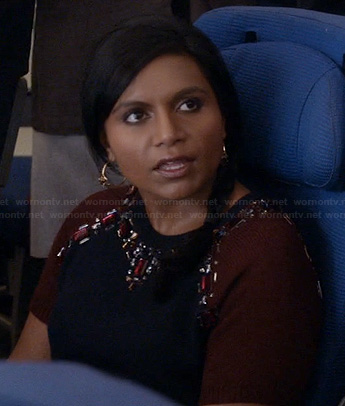 Mindy's burgundy and navy gem embellished top on The Mindy Project