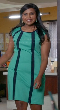 Mindy's green dress with navy vertical stripes on The Mindy Project