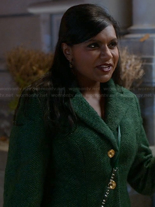 Mindy's green tweed coat on The Mindy Project