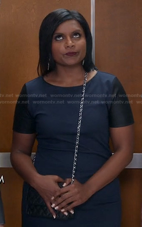 Mindy's blue leather sleeve dress on The Mindy Project